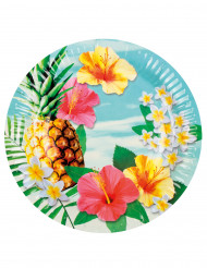 6 Piatti in cartone Hawaii Party 23 cm