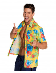 Camicia gialla con ibiscus Hawai per uomo
