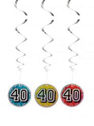 3 Decorazioni colorate 40 anni