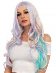 Parrucca lusso mossa color pastello per donna