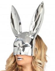 Maschera da coniglio argento cromato per adulto