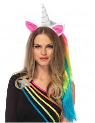 Cerchietto unicorno con treccia arcobaleno per adulto