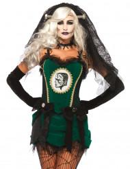 Costume da sposa mostro verde per Halloween