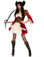 Costume da pirata rosso sexy per donna
