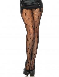 Calze nere a rete stelle e luna da donna per Halloween