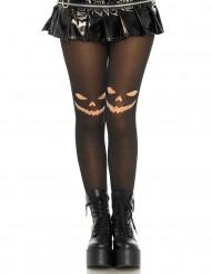 Calze donna nere con disegno viso di zucca