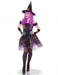 Costume da strega ragnatela multicolore per donna