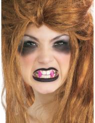 Denti canini rosa da vampiro per adulto