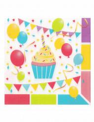 12 Tovaglioli di carta palloncini di compleanno