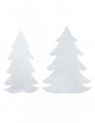 6 alberi di Natale adesivi in feltro bianco