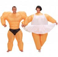 Costume di coppia umoristico ballerina e body builder gonfiabili