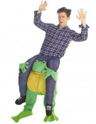 Costume carry me uomo sulle spalle di un ranocchio