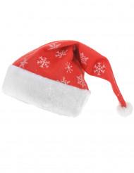 Cappello di babbo natale con fiocchi di neve Adulto 40cm