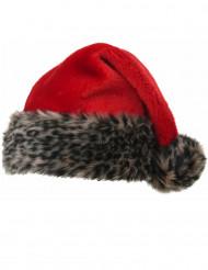 Cappello rosso con pelo tigrato per adulto Natale