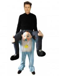 Costume uomo sulle spalle di un bebè per adulto