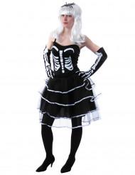 Costume principessa scheletro bianco e nero donna halloween