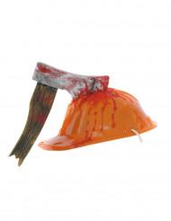 Casco da cantiere con ascia insanguinata per adulto