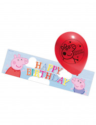 5 palloni gonfiabili Peppa Pig striscione Happy Birthday