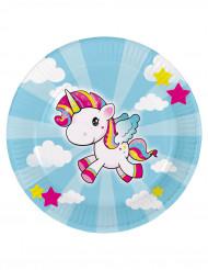 8 piatti in cartole piccolo unicorno 23 cm