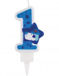 Candelina blu cifra 1