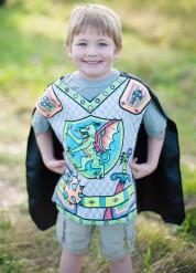 Tunica con mantello da cavaliere con dragone da colorare per bambino