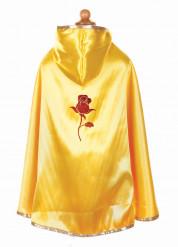 Mantello reversibile rosso e giallo da principessa per bambina