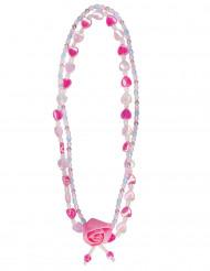 Collana fiori e cuori rosa per donna
