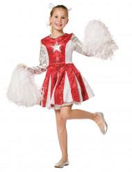 Costume da ragazza pompom rosso e argentato per bambina