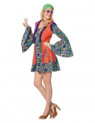 Costume hippie a quadri con frange per donna