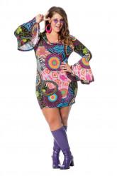 Costume hippie rock multicolore per donna