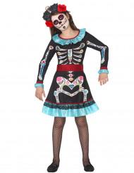 Costume da scheletro colorato dia de los muertos per bambina