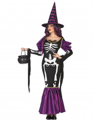 Costume strega viola con scheletro donna Halloween