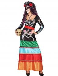 Costume messicano con scheletro donna Dia de los muertos