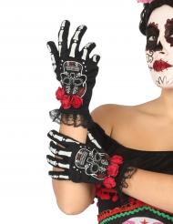 Guanti corti teschio messicano donna Dia de los muertos