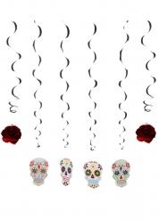 6 Decorazioni a sospensione teschi colorati dia de los muertos