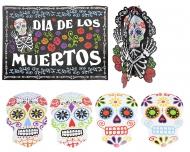 Kit 7 decorazioni per halloween scheletri dia de los muertos