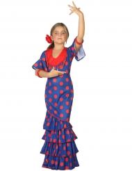 Costume ballerina di flamenco blu e rosso per bambina