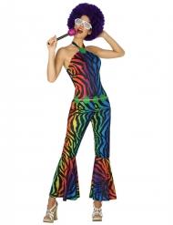 Costume disco Zebrato multicolore Donna