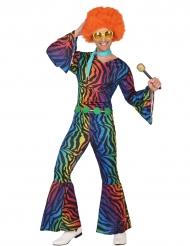Costume disco Zebrato multicolore uomo