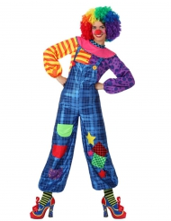 Costume Clown Patchwork blu Donna