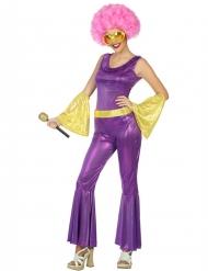 Costume Disco olografico viola e oro donna