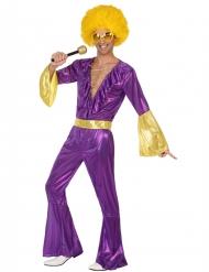Costume Disco olografico viola e oro uomo