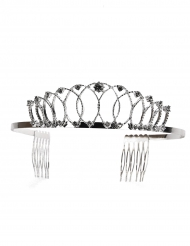 Diadema metallico da principessa argentato per adulto