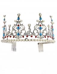 Diadema metallico deluxe da principessa con perle per adulto