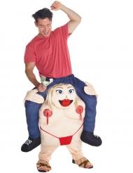 Costume uomo portato da una ballerina di lap dance  Morphsuits™ adulto