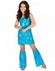 Costume disco blu notte con paillettes per bambina