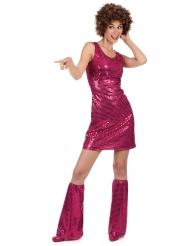 Costume disco fucsia con paillettes per donna