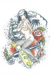Tatuaggio temporaneo marinaro per adulto