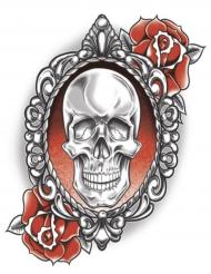 Tatuaggio temporaneo scheletro e rose per adulto