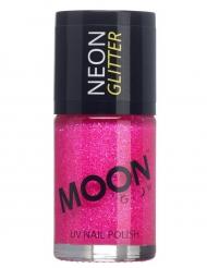 Smalto rosa fucsia con brillantini fosforescenti della marca Moonglow© 15 ml